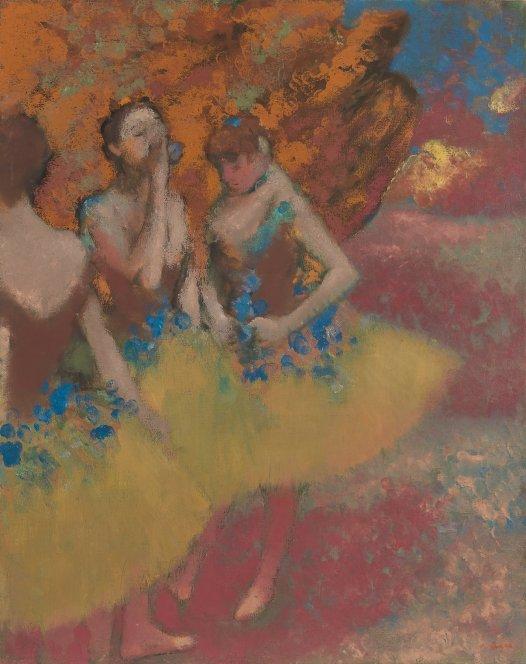 Edgar Degas - Drie danseressen in gele jurkjes