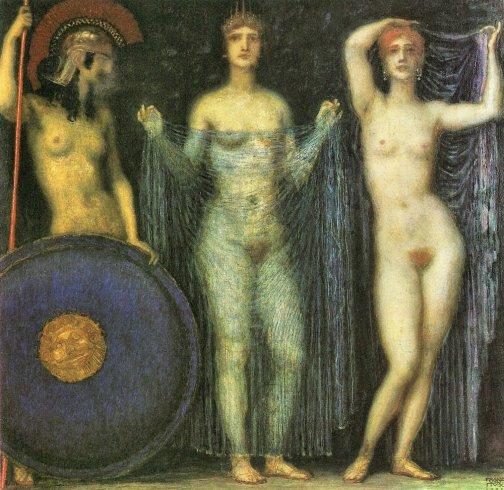 Franz von Stuck - Athena, Hera en Afrodite