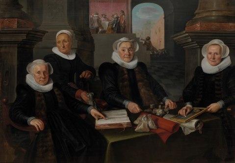 Werner van den Valckert - Drie regentessen en de binnenmoeder van het leprozenhuis te Amsterdam